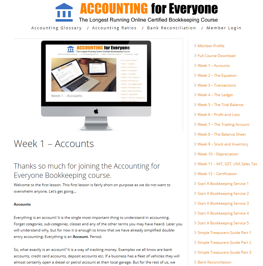 Accounting for Everyone Certified Bookkeeping Course Week 1 Screenshot